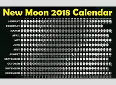 New Moon Calendar 2018 Moon Schedule 2018 Moon Phase
