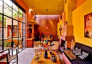 Mexican Living Room With Yellow Walls And Unique