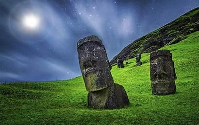 Easter Island Moai Nui Rapa Stone Night