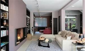 coin cheminee chaleureux par les couleurs et matieres With couleur chaleureuse pour salon