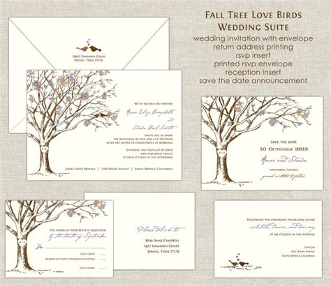 Fall Tree Love Birds Wedding Invitations Wedding Invites