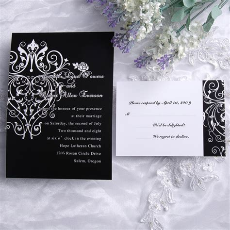 black wedding invitations cheap classic black and white chandelier scroll wedding invitations ewi120 as low as 0 94