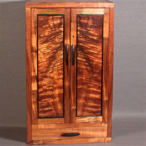 custom wall mounted koa jewelry cabinet