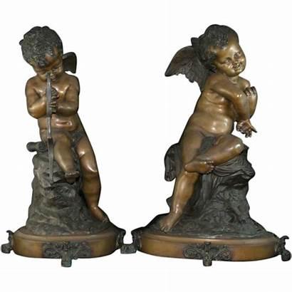 Cherub Angel Bronze Antique Statues Sculptures Pair
