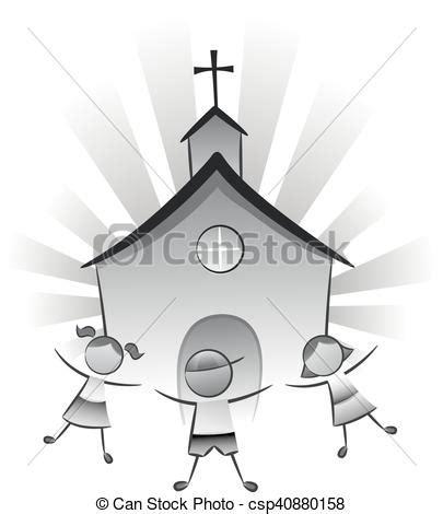 clipart chiesa bambini chiesa illustrazione gioco nero chiesa