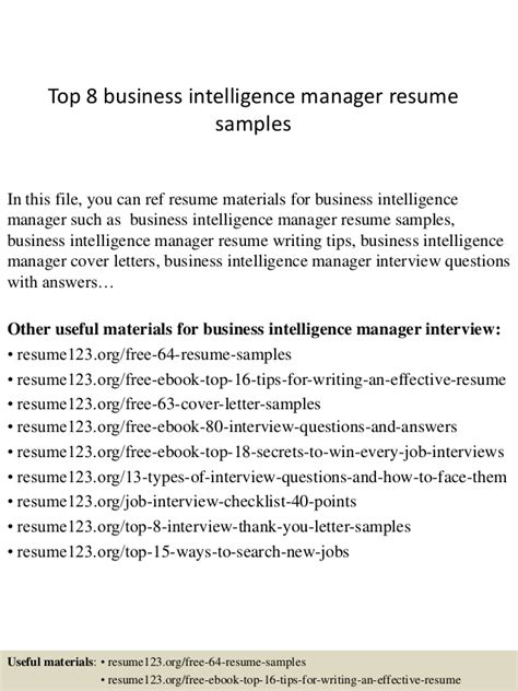 top 8 business intelligence manager resume sles