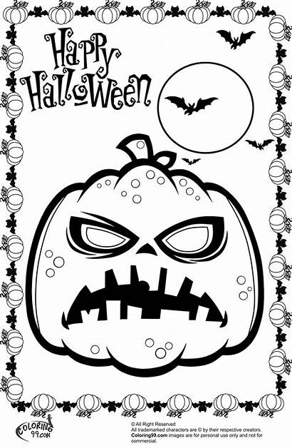 Halloween Coloring Scary Pumpkin Pages Pumpkins Printable
