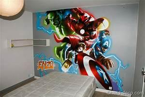 decoration comics marvel pour une chambre d39enfant With idee deco pour maison 19 chambre cars avec circuit hard deco