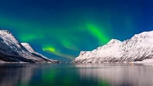 Wallpaper, Aurora, Borealis, Sky, Winter, Mountains, Lake