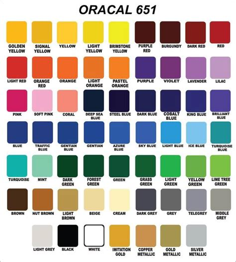 oracal 651 color chart 12x24 oracal 651 glossy vinyl crafts hobby