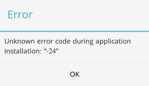 android fix error 24 during app installation in play appslova