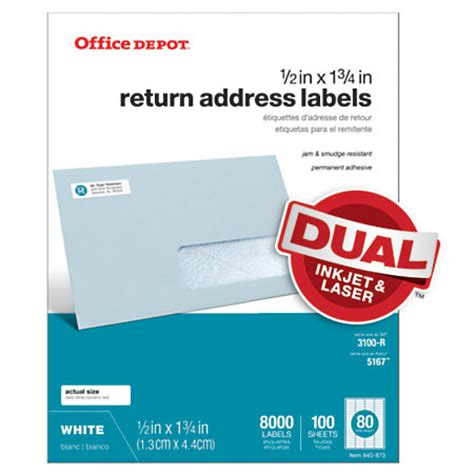 office max label office depot brand white inkjetlaser return address labels 12 x 1 34 pack of 8000 by office