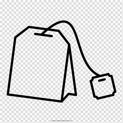 Tea Bag Clipart Drawing Coloring Bags Transparent