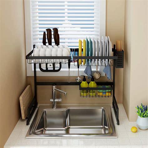 stainless steel drain rack  tier  sink dish drying rack sink rack plate bowl dish drainer
