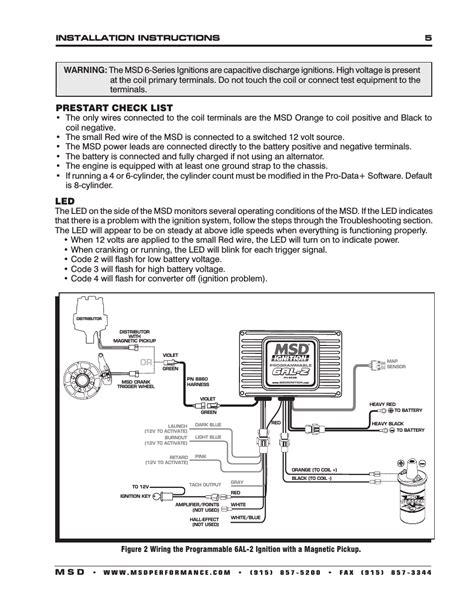 prestart check list installation 5 m s d msd 6530 digital programmable 6al 2