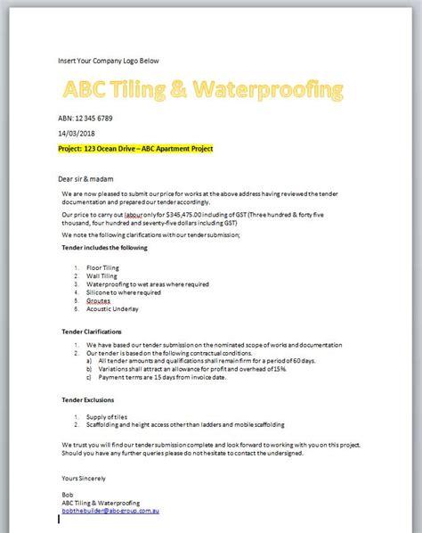 tiling waterproofing estimate  tradesmen rapid estimate