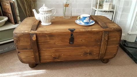 industrial vintage army rustic trunk chest coffee table