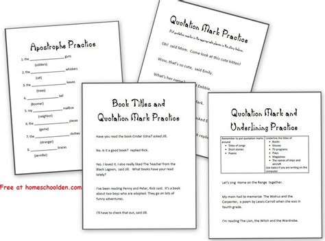 Grammar Practice Sheets Apostrophes, Quotation Marks And Underlining (and Others)  Homeschool Den