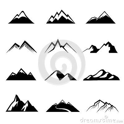 mountains black vector icons stock vector image