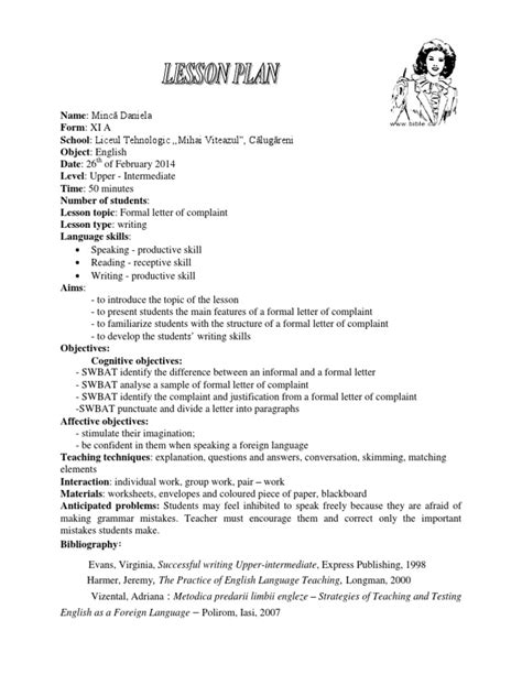 Lesson Plan Formal Letter of Complaint | English As A