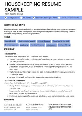 Resume For Hotel Housekeeping by 80 Free Professional Resume Exles By Industry