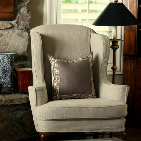 slipcovers for wingback chairs bedroom gray fabric wingback chair cover with length