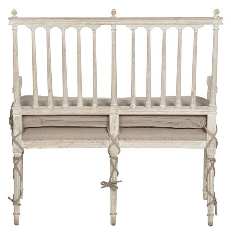 White Settee Bench by Coyle Shabby Antique White Settee Dining Bench