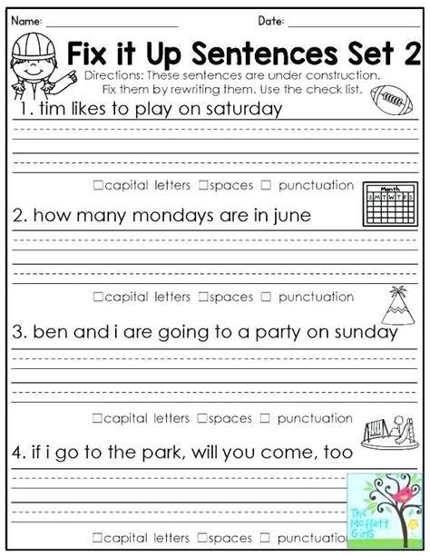 mixed  sentences worksheets  sentence  grade