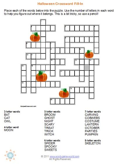 halloween crossword puzzles  great   fall party