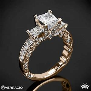 bead set princess 3 stone engagement ring by verragio 1909 With verragio wedding ring sets