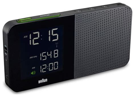 digital alarm clock radio black braun modern by horne