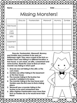 halloween beginner logic puzzles 8 puzzles for grades 2 3 4