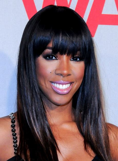 black hairstyles with bangs