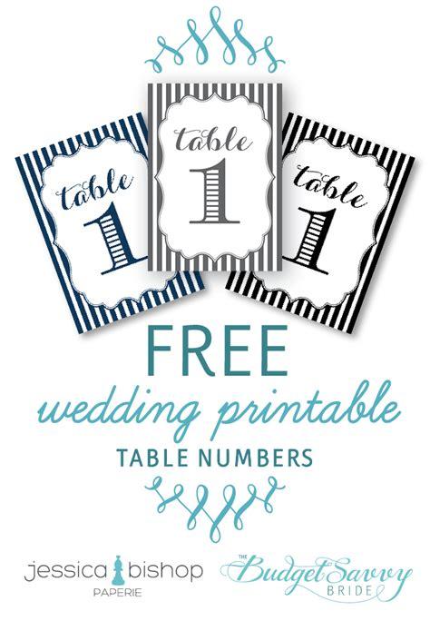 printable striped wedding table numbers   big