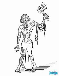 Dessin Qui Fait Tres Peur : coloriages zombie la hache ~ Carolinahurricanesstore.com Idées de Décoration