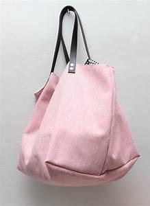 Sacs à Gravats : sac cabas laine rose int rieur nb triangles sacs main ~ Nature-et-papiers.com Idées de Décoration