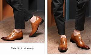 Brown Leather Elevator Dress Shoes To Add Height Shoes For
