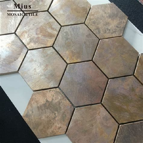 China Hexagonal Copper wall tile in bronze brushed for