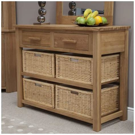 console table with baskets and drawers nero solid oak furniture basket hall console table with