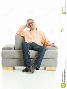 Relaxed Man Sitting On Couch Royalty Free Stock Image ...