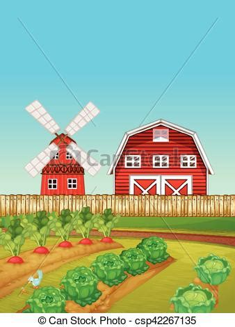 farm scene  vegetable garden  barn illustration