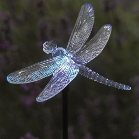 solar powered dragonfly glowlight colour changing garden