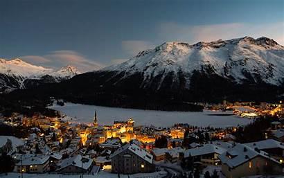 Winter Village Mountain Switzerland Snow 4k Background