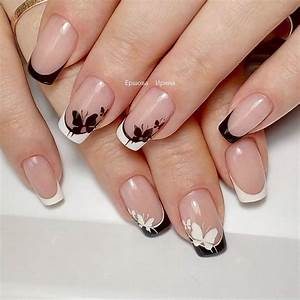 White Black Tips With Butterflies Nail Art Designs