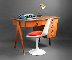 Mid century maple office desk wood modern eames retro for Retro office desk