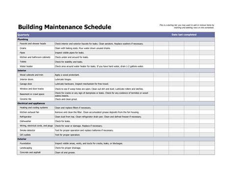 building maintenance schedule excel template planner