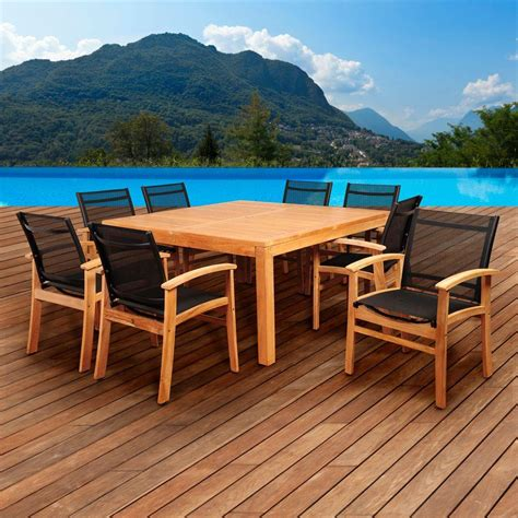 amazonia square 9 teak patio dining set sc