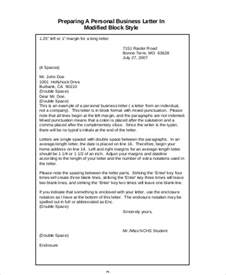 Modified Block Style Personal Business Letter