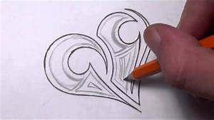 Drawing a Simple Tribal Maori Heart Tattoo Design ...