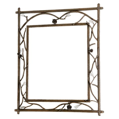 Wrought Iron Bathroom Mirror by Rustic Pine Branched Wall Mirror
